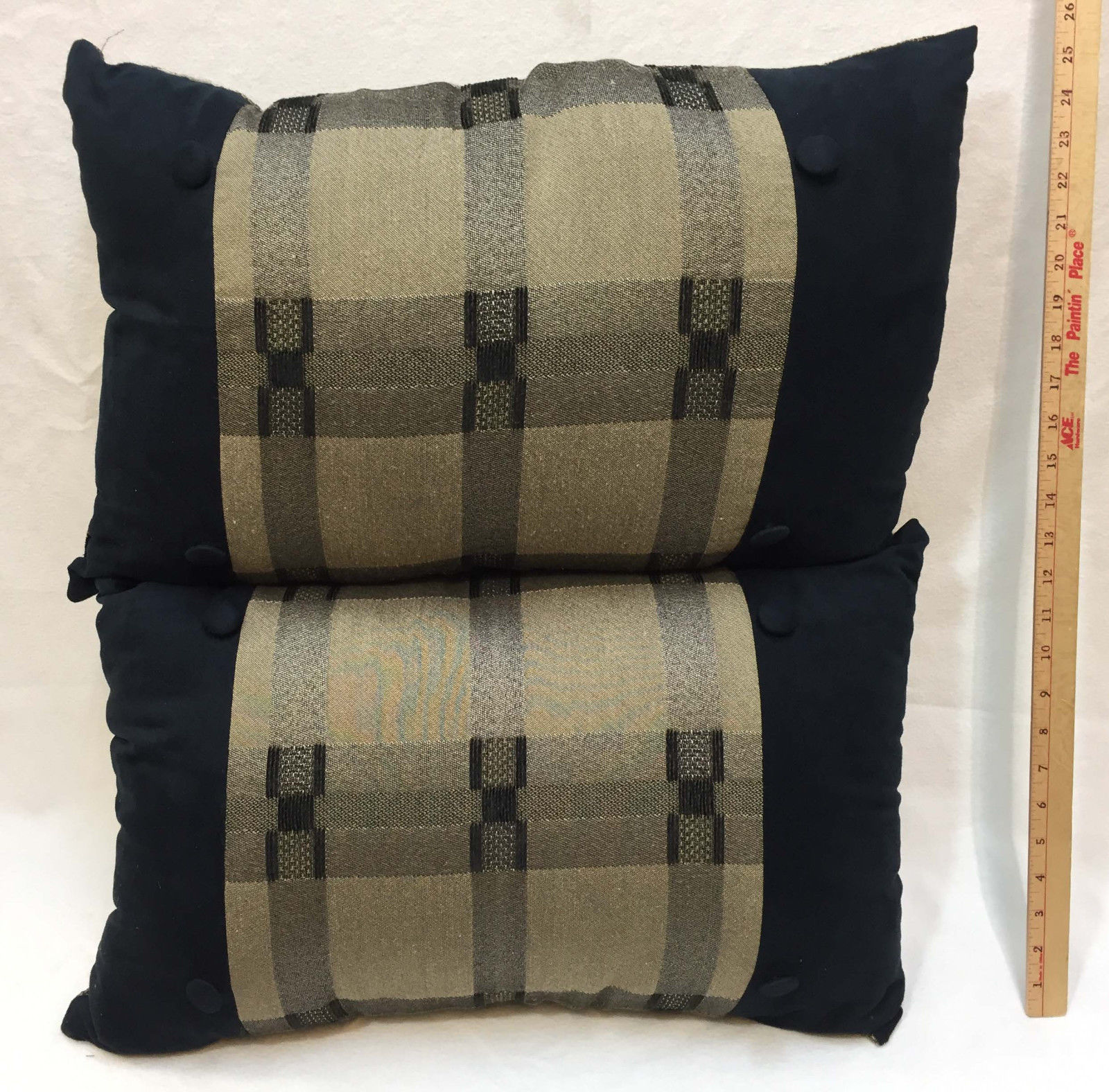 2 Throw Pillows Black Gold Brown Tweed Decorative w/ Buttons Plush Rectangle - $48.50