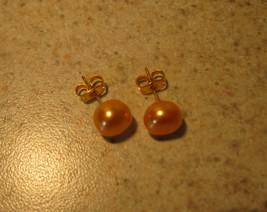 Peach Pearl Stud Earrings New and Beautiful #953 - $8.99