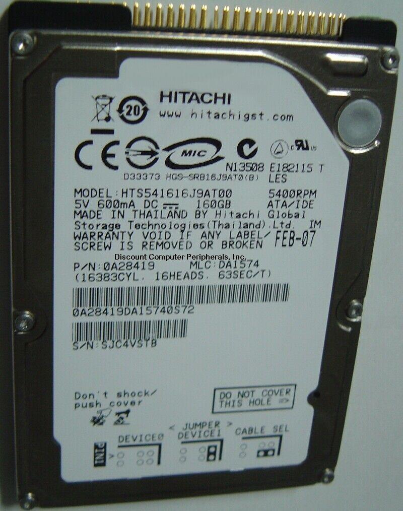 """NEW Hitachi HTS541616J9AT00 160GB IDE 44PIN 2.5"""" Hard Drive Free USA Shipping"""