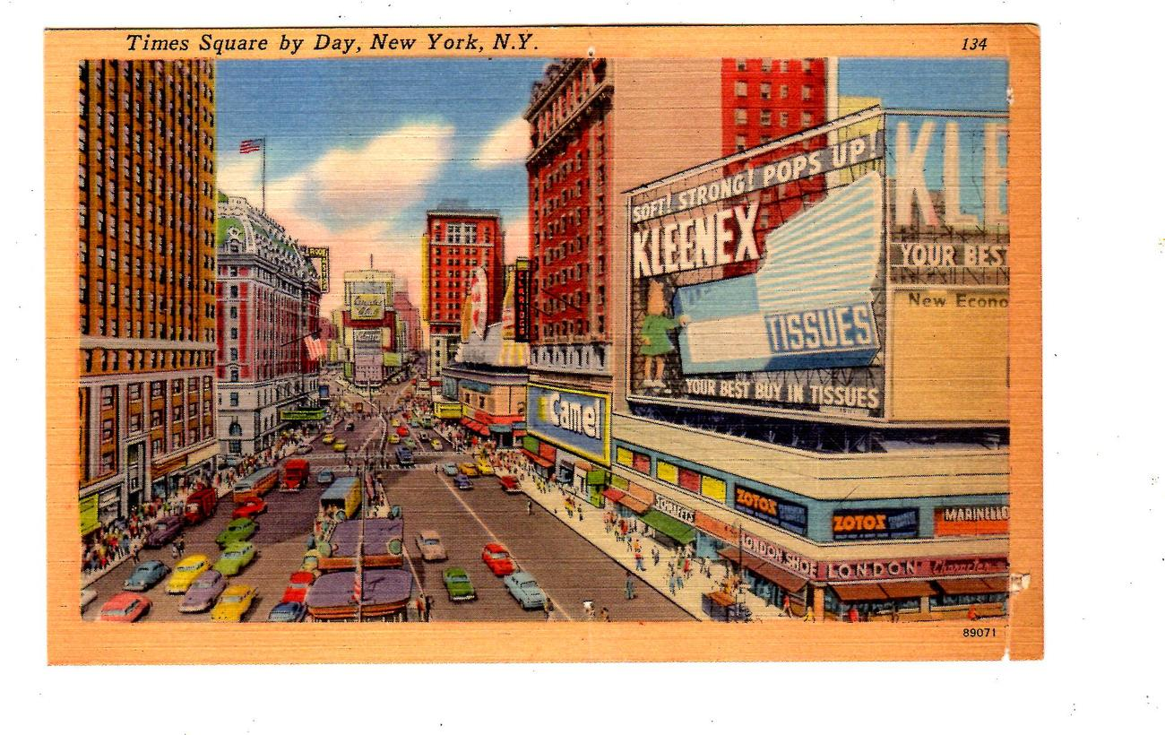 Times Square by Day, New York, N.Y.  Post Card (1940's)