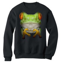 Australian green tree frog Sweatshirt BIG FACE ANIMAL Pet Fleece crew ju... - $26.99+