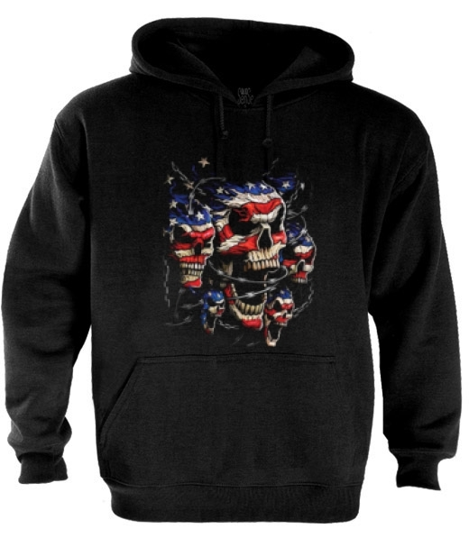Skull USA Hoodie choppers 2nd Amendment Guns American flag Homeland
