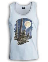 Wolf Pack Singlet Howling Wolves Moon Night Dark Cold Tank Top Silver White - €17,16 EUR