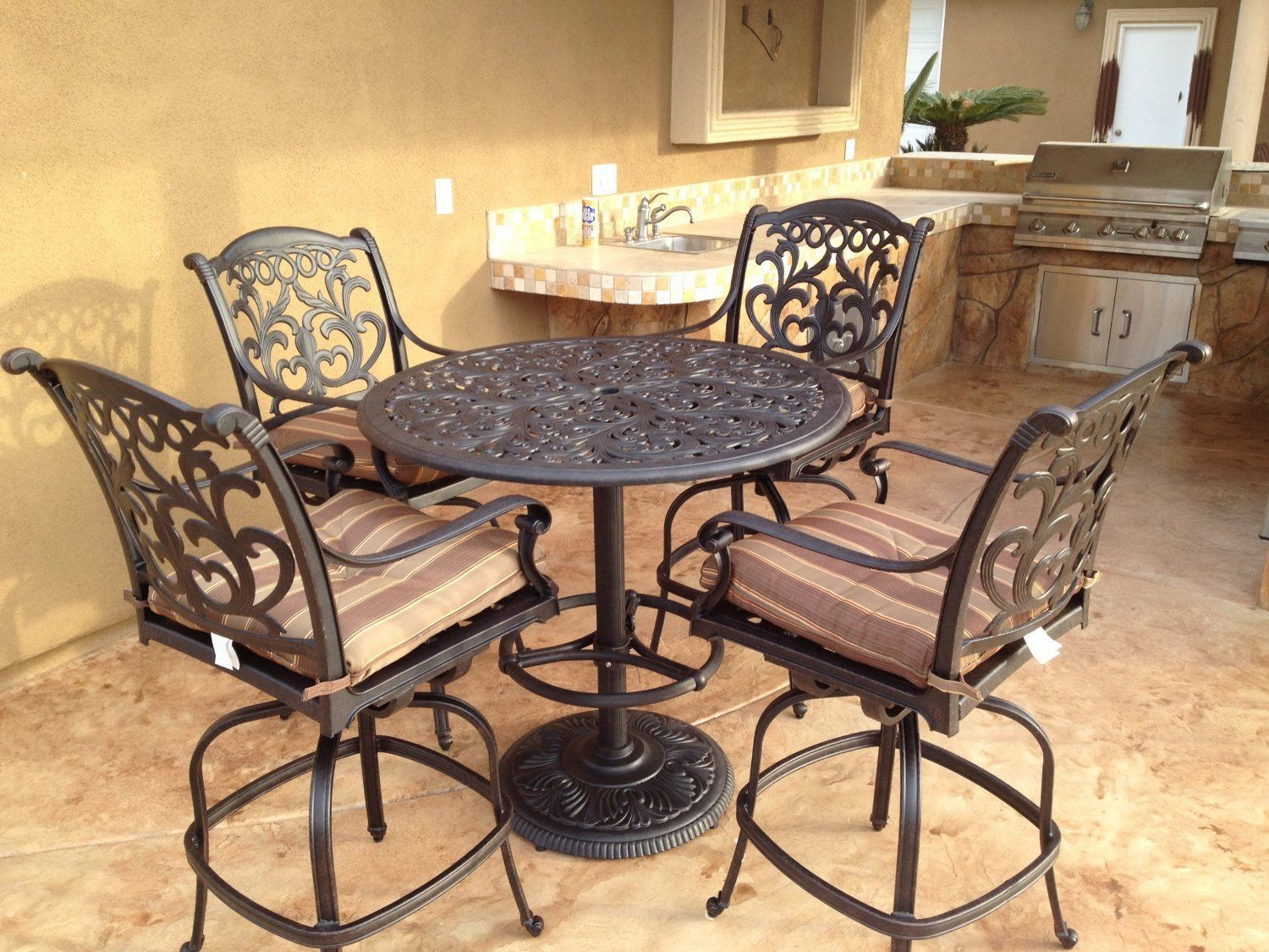 "Flamingo Cast Aluminum 5pc Outdoor Patio Bar Set with 42"" Round Bar Table"