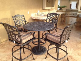 "Flamingo Cast Aluminum 5pc Outdoor Patio Bar Set with 42"" Round Bar Table image 1"