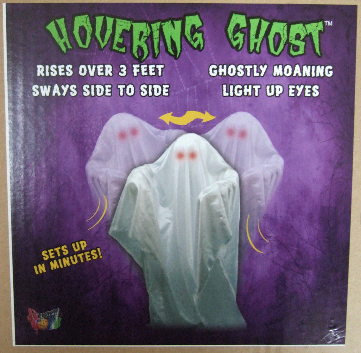 Animated Hovering Ghost with Glowing Light Up Eyes Halloween Prop Tekky Toys