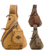Messenger Shoulder Sling Chest Bag Backpack Canvas Motorcycle Bike Travel Hiking