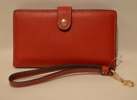 Coach Pebbled Red Leather Phone Wristlet Wallet Clutch 37390B NWT - $49.49