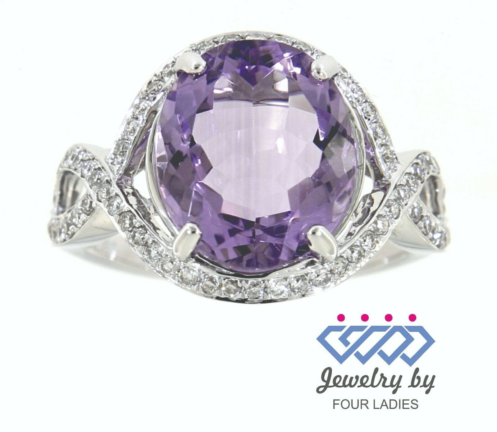 Primary image for Amethyst Birthstone 14K White Gold 4.04CT Natural Diamond Designer Ring