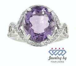 Amethyst Birthstone 14K White Gold 4.04CT Natural Diamond Designer Ring - $643.12