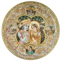 White Marble Plate Radha Krishna Gold Embossed Painting Round Plate Gift... - $511.42