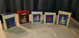 5 Hallmark Christmas Ornaments in Boxes Church Schoolhouse Flagpole - $34.64