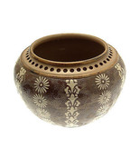 c1880 Doulton Lambeth Planter brown and cream with pierced rim - $580.94