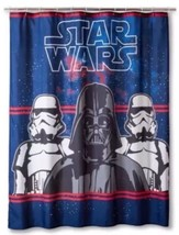 Star Wars Shower Curtain  Darth Vader Storm Troopers Blue Red Nwt - $17.99