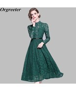 Green Flower Hollow Out Lace A line Dress Women 2019 Spring Stand Collar... - $41.70