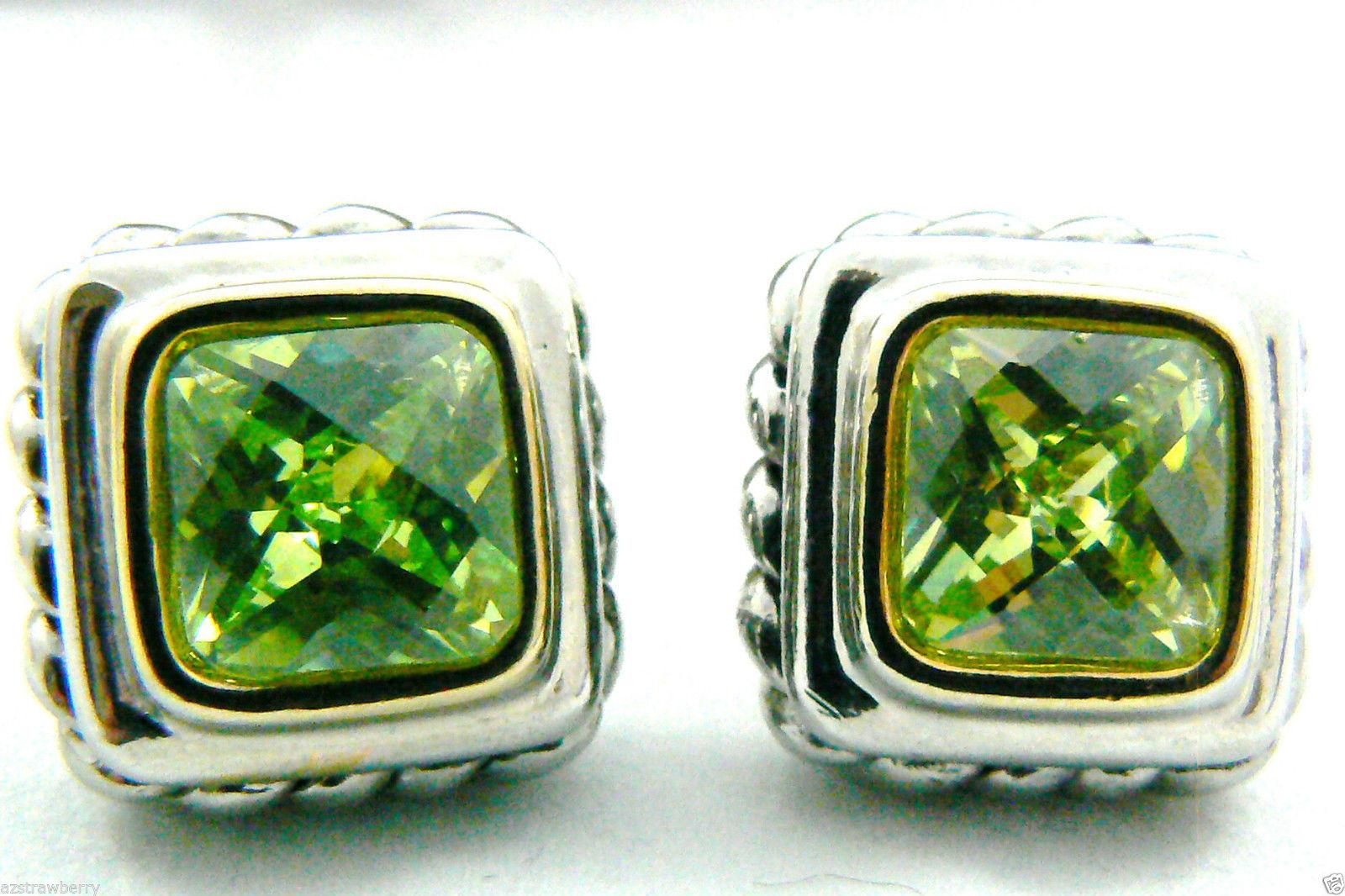 Silver tone Faceted Green Peridot CZ Cubic Zirconia stud earrings $0 sh new