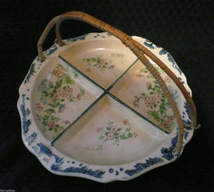 Vintage 4 Section Hand Painted Dish with Wired Wicker Handle Japan c1940's - $12.00
