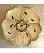 "Laurie Gates Sculpted Salad Plate 7 3/4"" Flower Cream Leaf Green Purple ... - $14.95"
