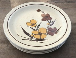 "SET OF 4 Homer Laughlin 1977 brown yellow flowers stoneware 10.25"" Dinne... - $11.39"