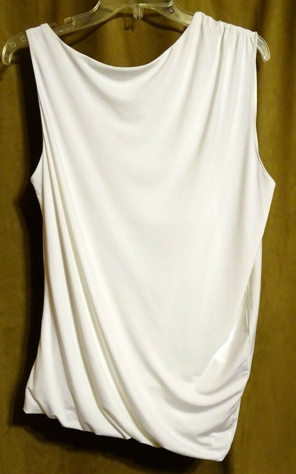NEW EXPRESS $35 WHITE ASYMMETRIC DRAPED LINED SLEEVELESS DRESSY TOP BLOUSE S image 3