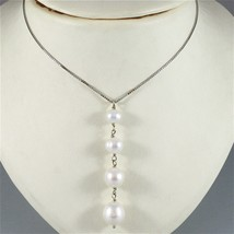 18K WHITE GOLD LARIAT NECKLACE VENETIAN CHAIN FW ROUND OVAL DROP PEARL PENDANT image 2
