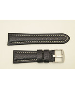 20mm Genuine Leather BLACK  Watch Band padded strap silver tone buckle - $19.95