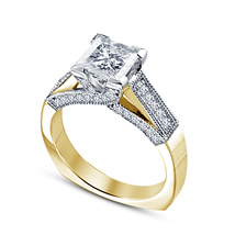 14k Yellow Gold Over Pure 925 Sterling Silver Diamond Solitaire W/ Accen... - $74.99