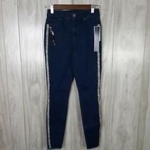 Tinseltown Juniors' Glitter-Striped Skinny Jeans, Size 1, Blue Dark Wash - $9.89