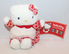 "Sanrio Japan Hello Kitty Plush 11cm 4.25"" Tall Apron Heart Red Tag Vinta... - $48.04"