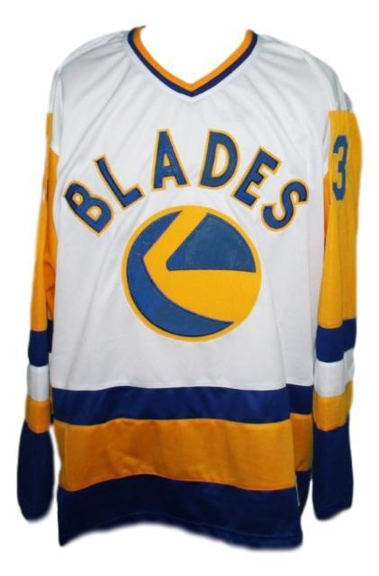Custom name   saskaton blades retro hockey jersey white   1