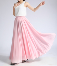 Women Long MAXI Chiffon Skirt AQUA-BLUE Chiffon Maxi Skirt Summer Wedding Skirt image 8