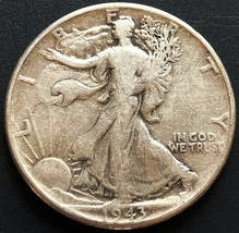 1943 USA Walking Liberty 90% Silver 50 Cent Half Dollar Coin - Great Con... - $9.63
