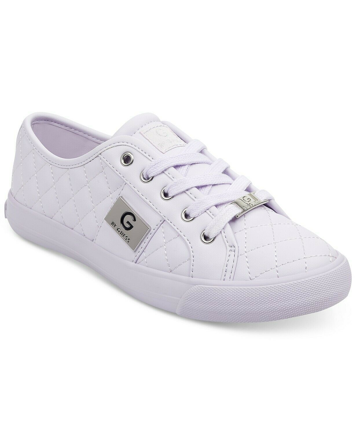 G by Guess Women's Lace Up Leather Quilted Pattern Sneakers Shoes Light Purple
