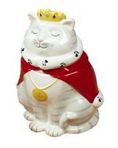 "Queen Cat 37367 White Kitty 3D Ceramic Cookie Treat Jar 9.25"" H Tracy Fl... - $47.52"