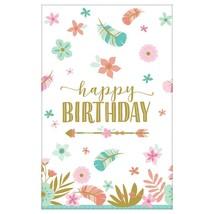 amscan 572106 1.37m x 2.43m-1 Pc, Tablecover Paper Boho Birthday Girl - $24.50