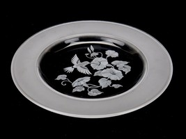 "Avon Crystal Hummingbird 8"" Bread Plate 24% Lead Crystal Made in France - $8.77"