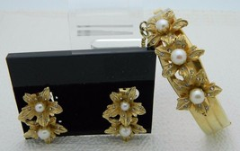 Vintage Gold Tone Clear Rhinestone Faux Pearl Flower Bangle Bracelet Ear... - $39.60