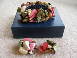 mother of pearl Bracelet Earrings Set / Japan 1950s - $55.00