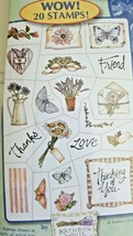 Inkadinkado Clear on Clear Flowers and Friends 20 Stamps Butterfly Flowe... - $7.56