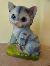 Vintage Porcelain Blue Tabby Cat Enesco Japan Figure - $14.99