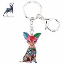 Chihuahua Key Chain Dog Cute Enamel Jewelry Charm Ring Pom Poms Fashion ... - $9.87