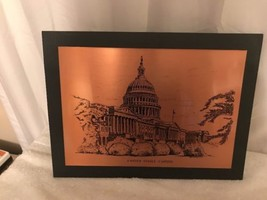 Pre-owned United States Capitol Building Copper Picture on Wooden frame ... - $20.57