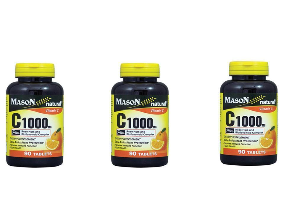 3 X 90 = 270 TABLETS VITAMIN C 1000MG PLUS ROSE HIPS BIOFLAVONOIDS Antioxidant