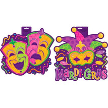 Mardi Gras Cut Outs Comedy Tragedy or Jester Pa... - $1.89