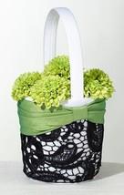 Green & Black Flower Basket Flower Girl Wedding Ceremony Satin Sash Lace Pretty - $19.58