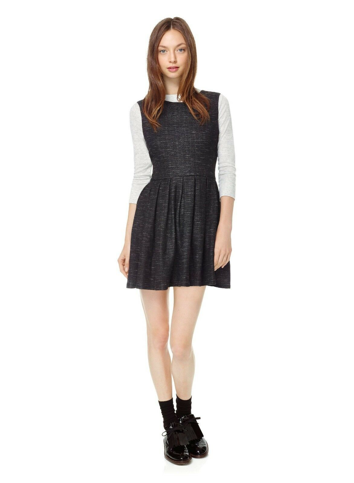 Talula Waldorf Charcoal Gray French Terry Pleated Fit & Flare Jersey Shirt Dress