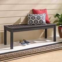 Outdoor Bench Backless Brown Finish Wood Hallway Patio Porch Yard Comfor... - $99.99