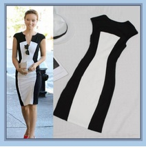 Black n White Designer Contrast Pencil Dress w/ Split Sleeveless Shoulder - $38.95