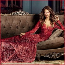 Red  Floral Sheer Stretch Lace Long Sleeve Transparent V Neck Long Train Gown