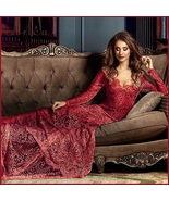 Red  Floral Sheer Stretch Lace Long Sleeve Transparent V Neck Long Train... - $122.95